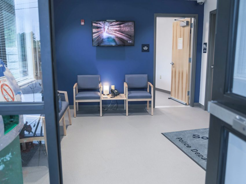 A photo of a lobby in the South Berwick Police Department built by Allied Cook