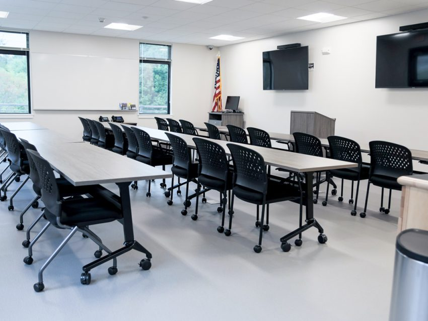 A photo of a meeting space in the South Berwick Police Department built by Allied Cook